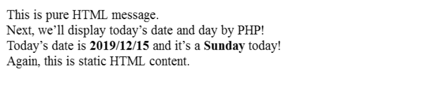 Text output of the PHP code