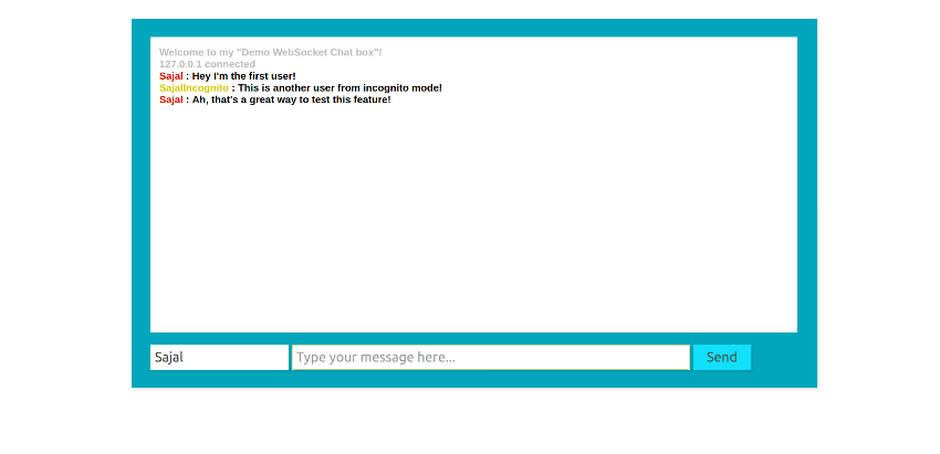 chat bot showing messages from two users