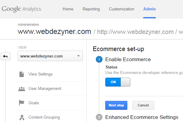 Set Google Analytics Ecommerce Settings to On
