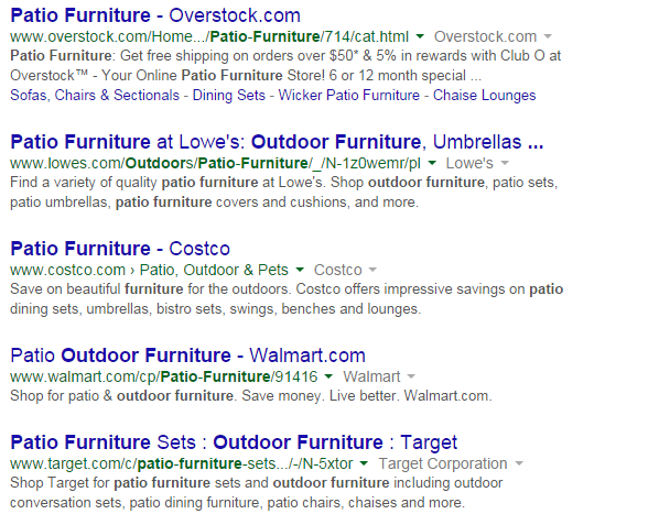 Patio Furniture search results in Google