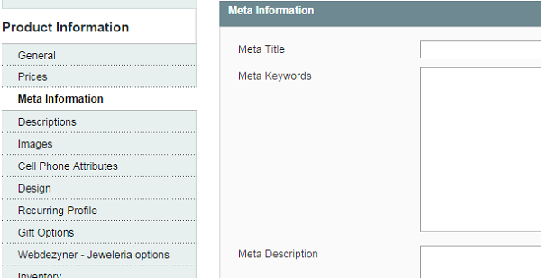 Enter page title and meta description for product pages