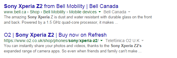 Default search engine results