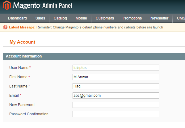 Magento Changing username  Password
