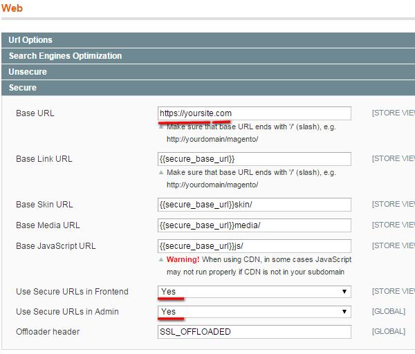 Magento Enabling Secure URL