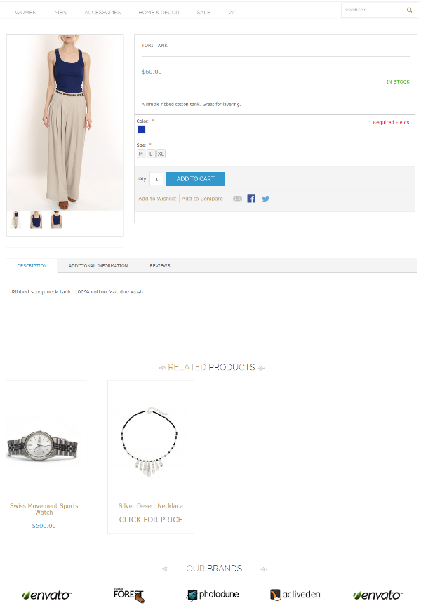 product page before CSS