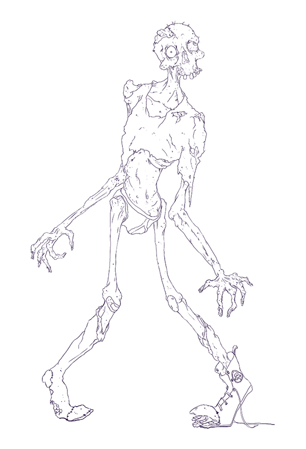 Clean Zombie Line Art
