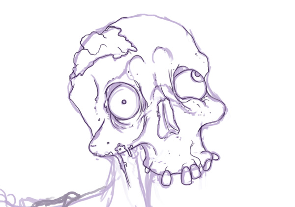 Clean Line Art Over Rough - Skull