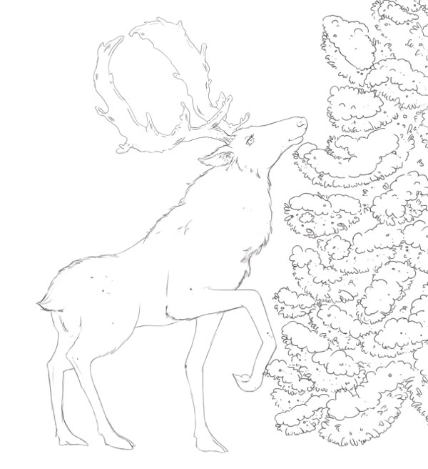 Deer Finished Line Art
