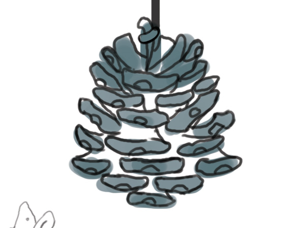 Rough pine cone with line art