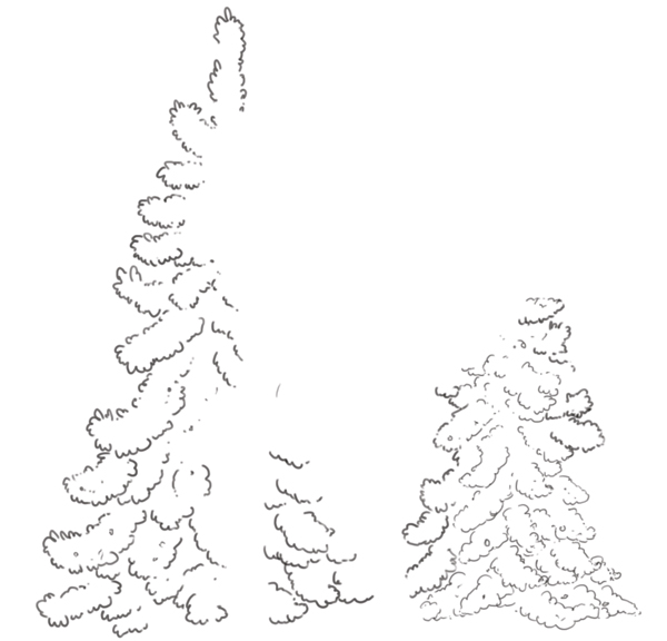 Background trees line art