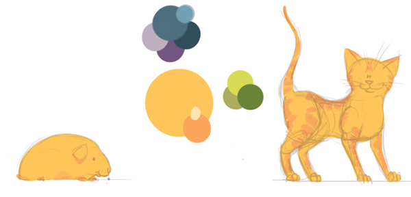 Cat and guinea pig colour roughs