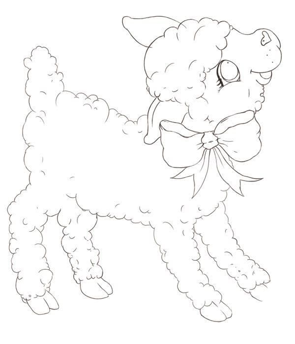 Clean Lamb Line Art