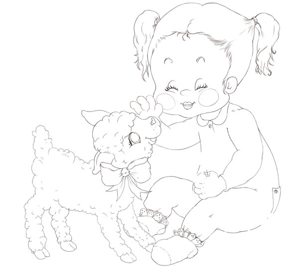 Girl and Lamb Clean Line Art