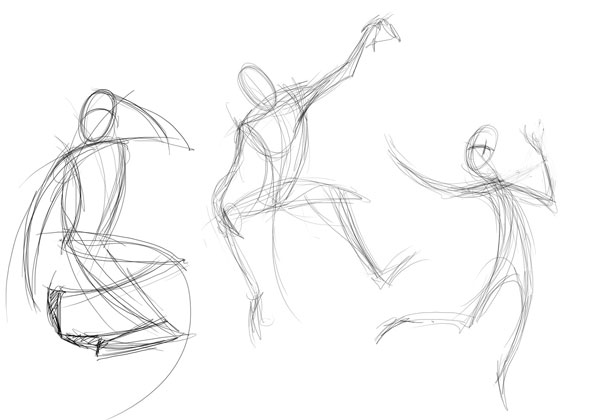 When working in a life drawing class i was trained to draw poses in 30 seconds to two minutes as much info needs to be put down as possible