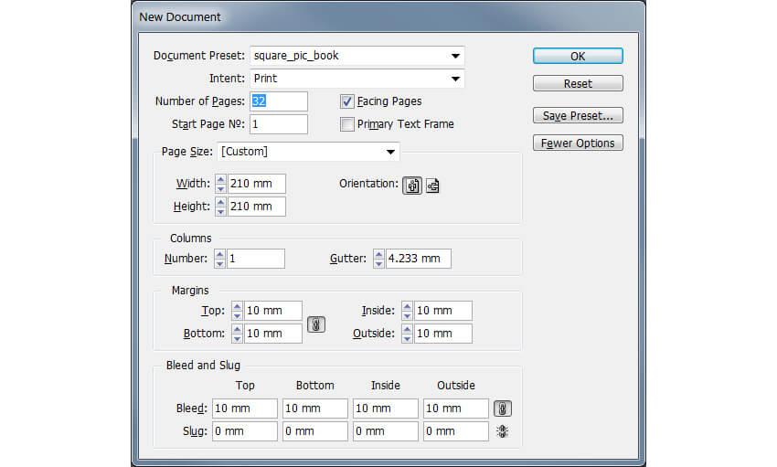 InDesign Document Setup Window