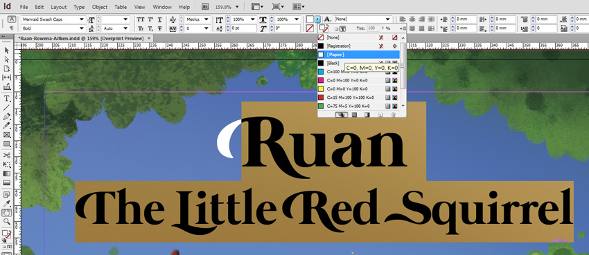 Ruan Title Paper Fill in InDesign