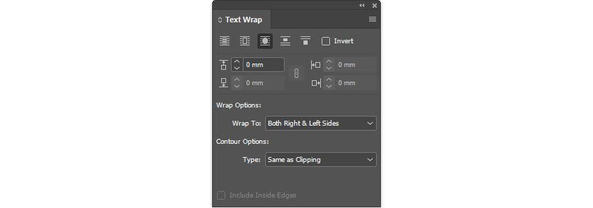 InDesign CC Layout - Text Wrap Settings - To Shape