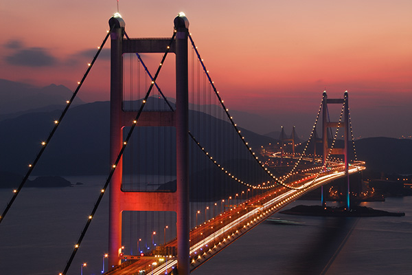 Tsing Ma Bridge at dusk