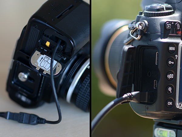 Nikon D7000 camera with EP-5 battery cable and D700 with dedicated AC input terminal