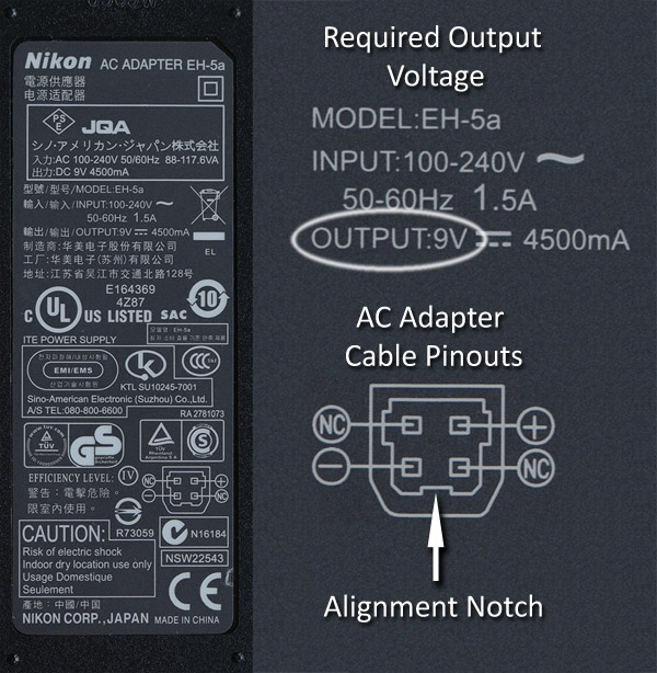 base of the Nikon AC PSU and pinout assignment diagram for the AC output cable