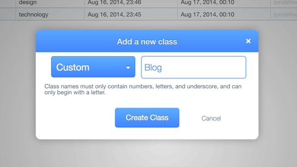 Add a blog class on Parse