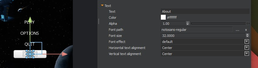 UI Canvas - Button Text properties
