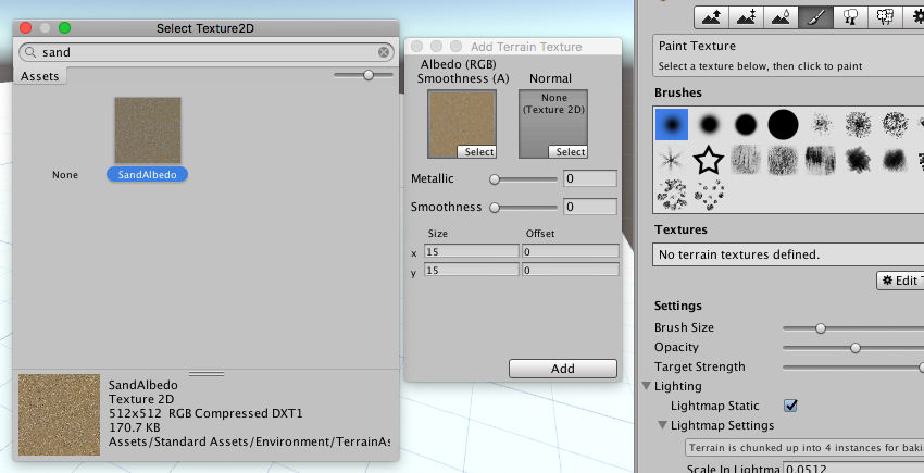 Texture Tools - Selecting the SandAlbedo Texture