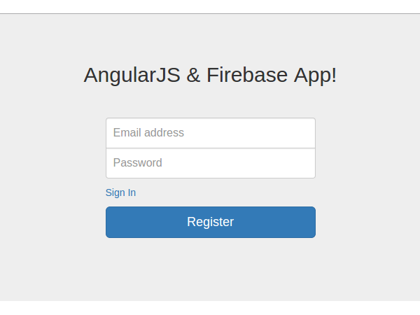 Sign-up screen for AngularJS  Firebase App