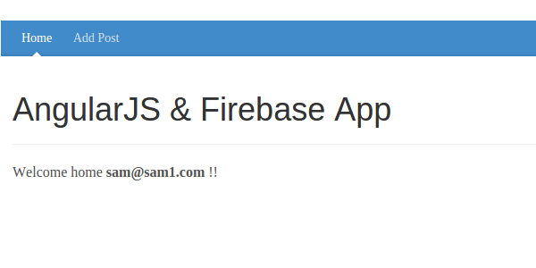AngularJS  Firebase App User Home