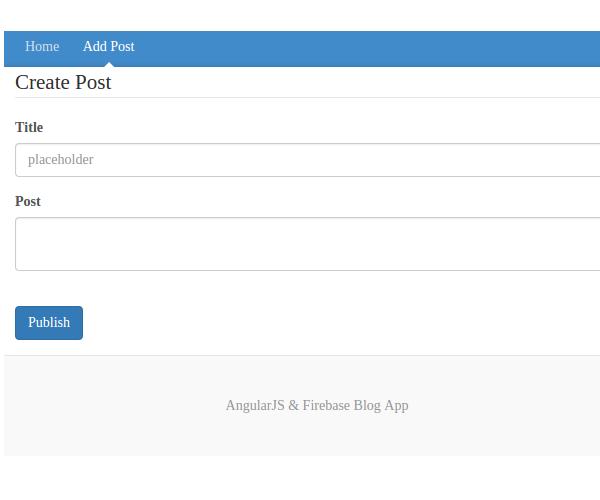 Add Post page of AngularJS Firebase app