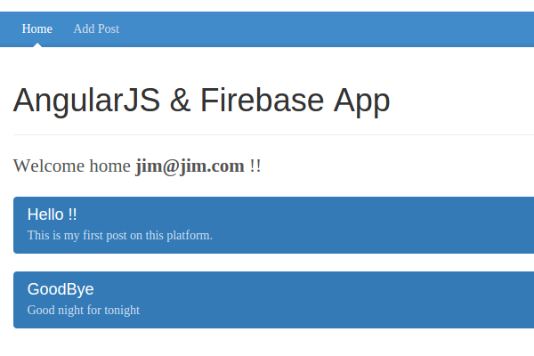 Welcome page with Post from Firebase