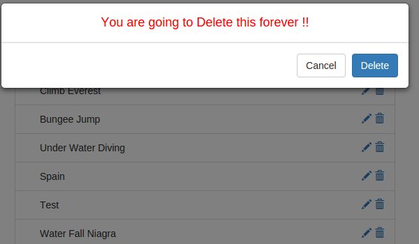 Delete Confirmation Popup
