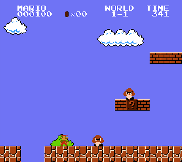 The first-level of Super Mario Bros