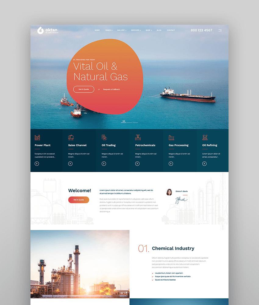 Oktan  Oil  Gas Industry WordPress Theme