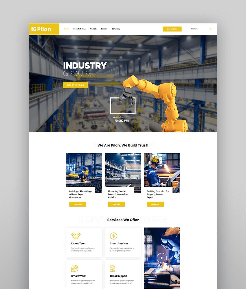 Pilon - Industrial  Factory WordPress Theme