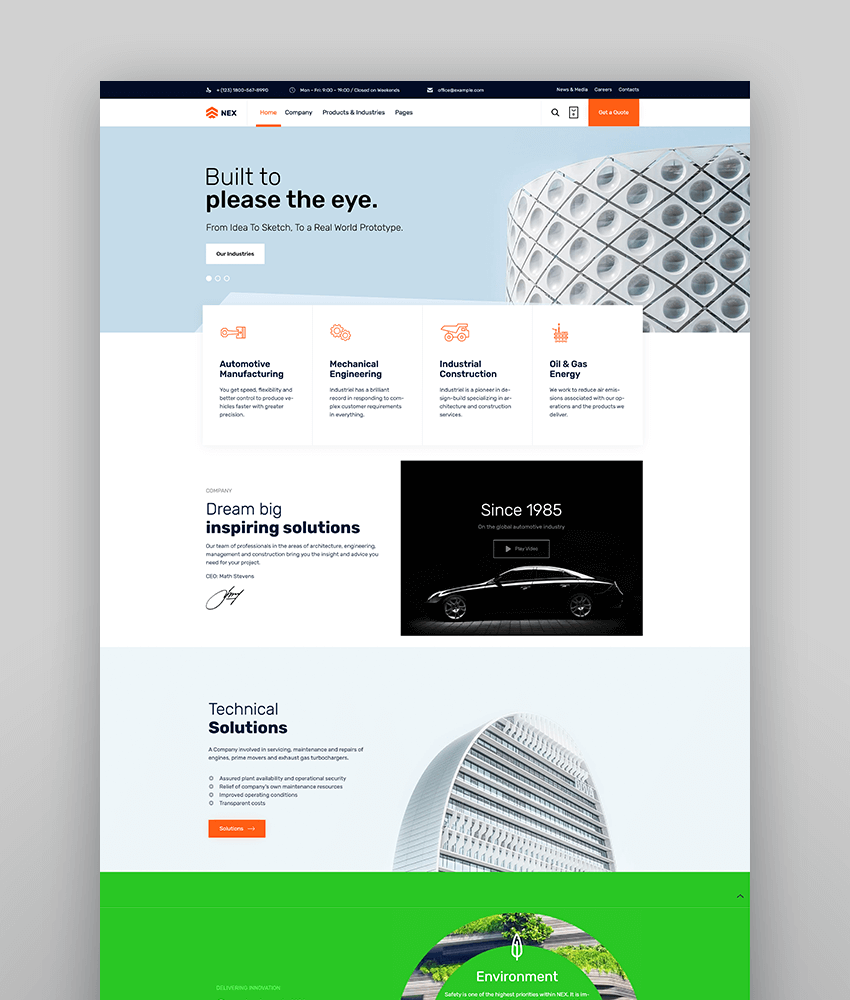 Factory Industrial Manufacturing WordPress Theme