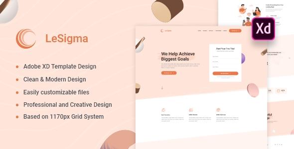 LeSigma - Isometric Business Adobe XD Landing Page Template