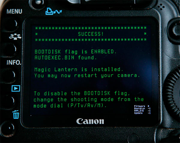 Canon 5D Mark II with Magic Lantern installed