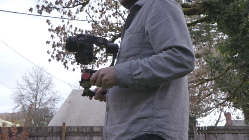 Keep your elbows in and the gimbal close to your chest