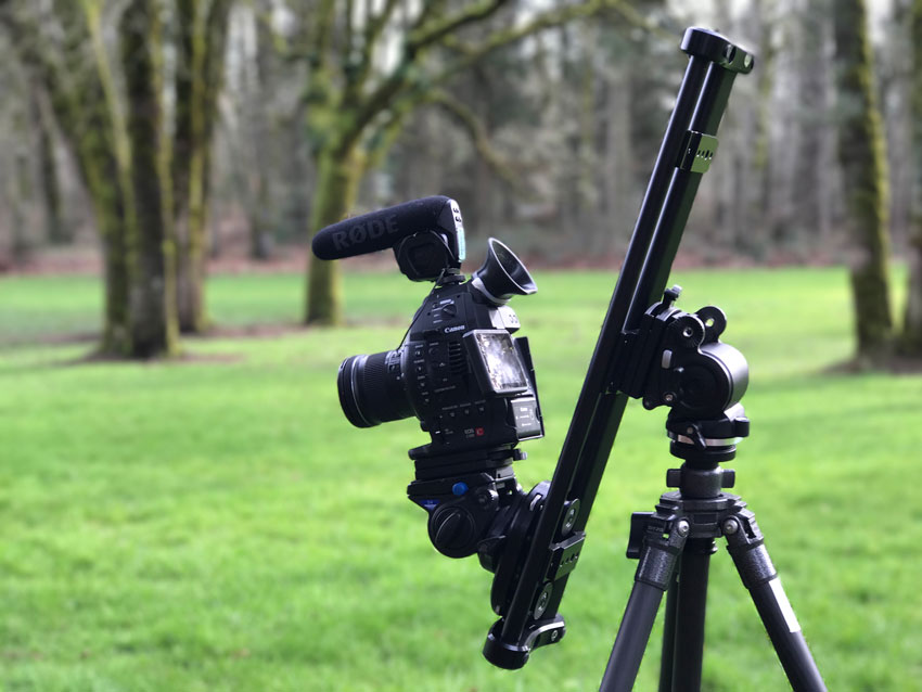 Camera and slider in vertical slide position
