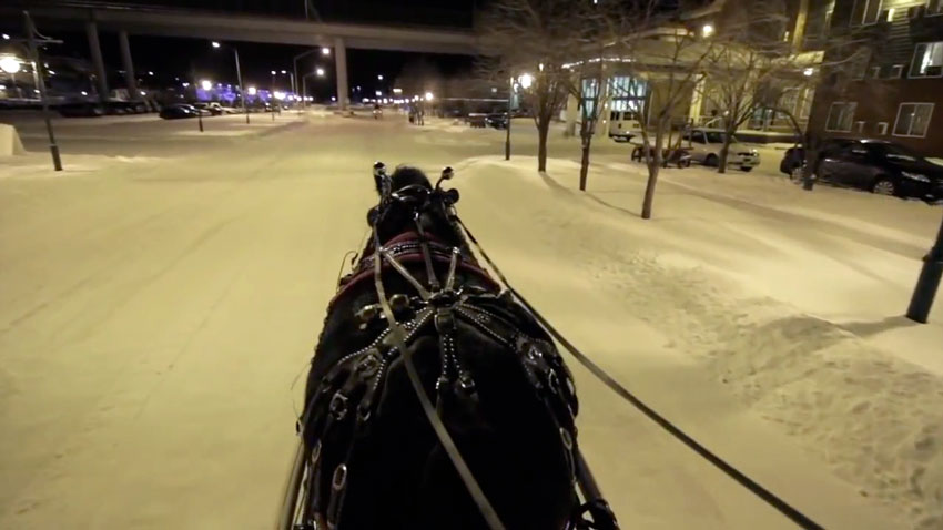 Shooting video from a sleigh