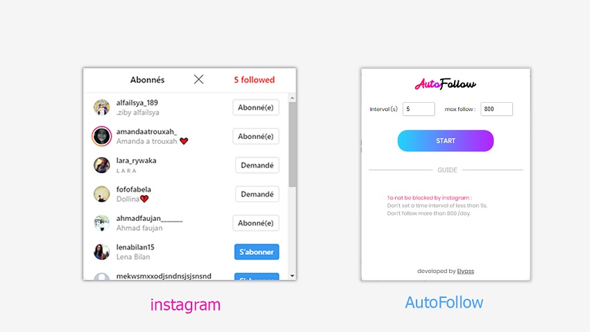 AutoFollow Chrome Extension for Instagram