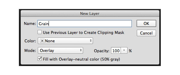 Settings for adding a grain layer