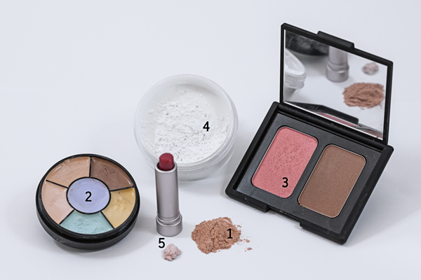A small kit of essential makeup