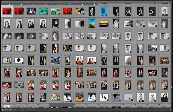A disorganized Lightroom library of photos