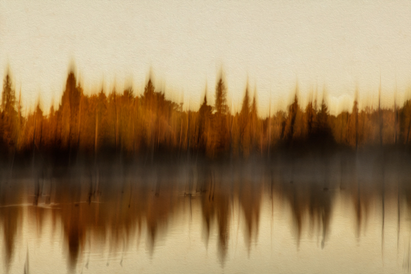 Impressionist-like photograph of lake and trees