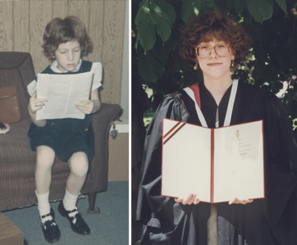 YYYoung girl reading and same girl older with graduation certificate