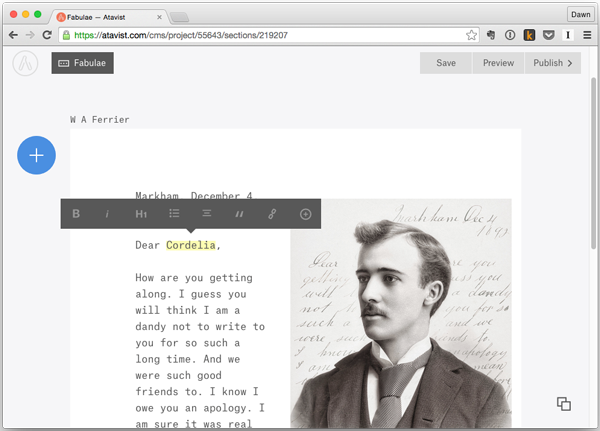 Atavist story page showing text formatting options