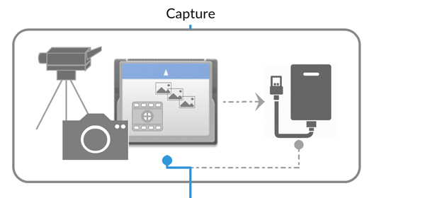 Diagram of capture phase of digital asset management