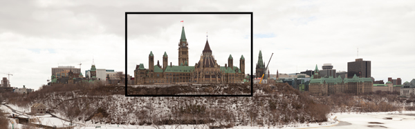 Panoramic view of Parliament Hill Ottawa Canada